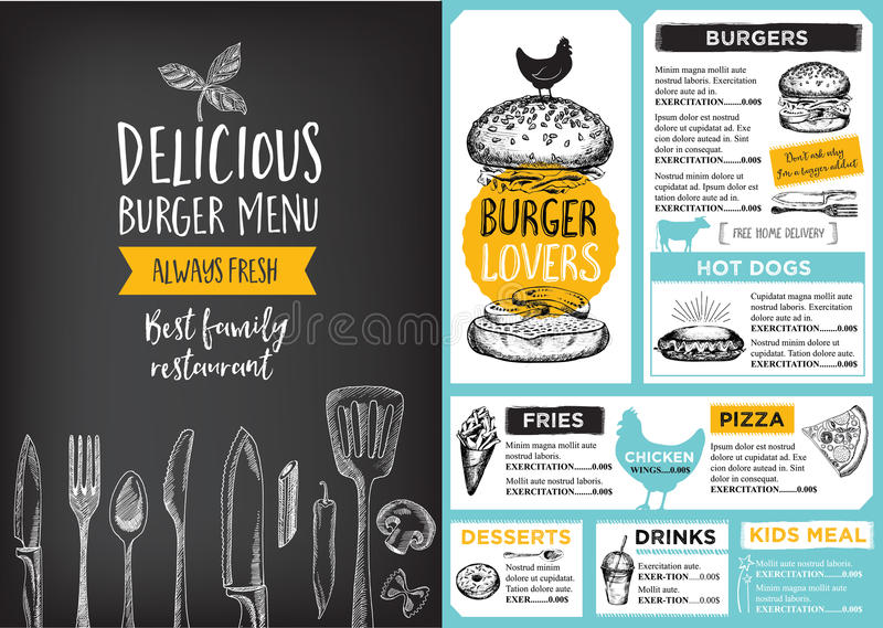 Restauracyjny cukierniany menu, szablonu projekt ilustracja wektor