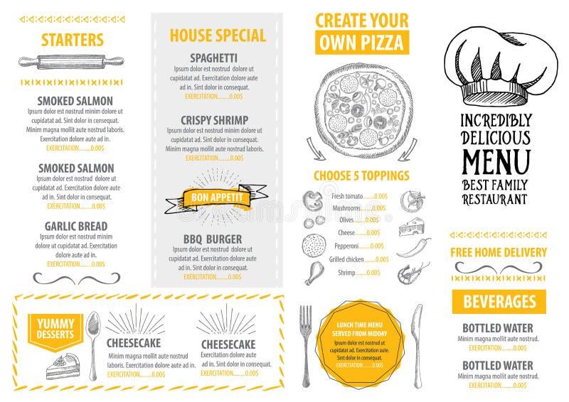 Restauracyjny cukierniany menu, szablonu projekt Karmowa ulotka royalty ilustracja