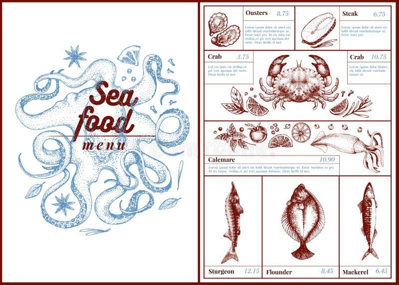Restauracyjny cukierniany owoce morza menu, szablonu projekt Może być jako menu use, obiadowy karciany projekt Retro ręka rysując ilustracja wektor