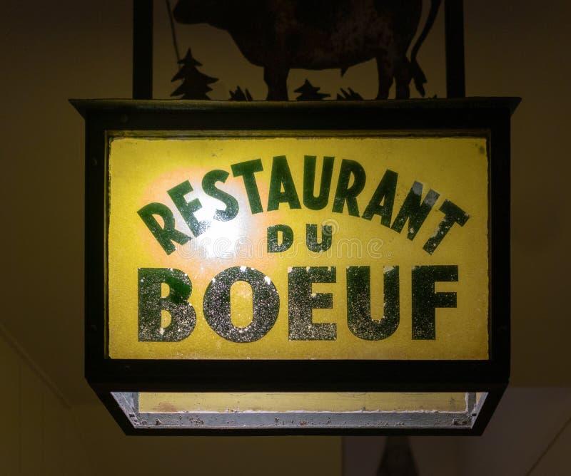 Restauracyjny Du Boeuf znak zdjęcie royalty free