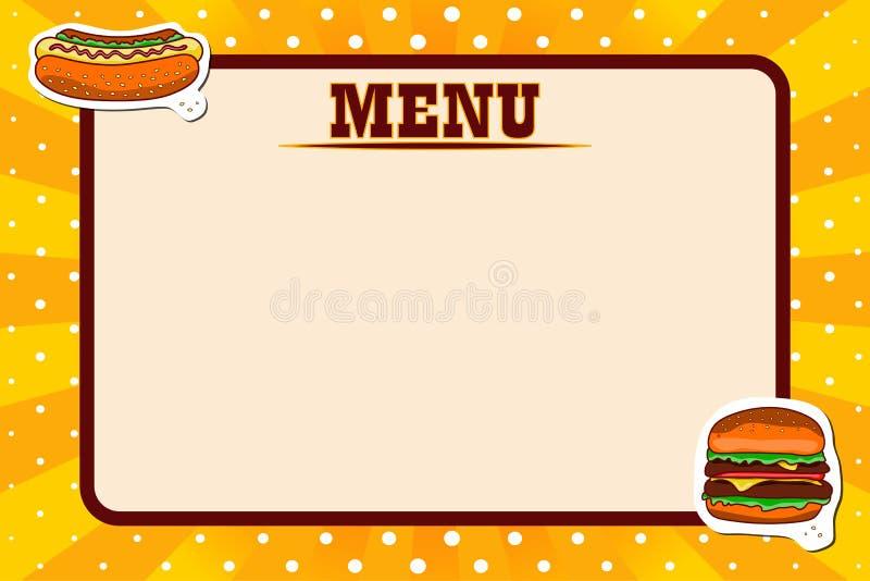 Restauracyjny fasta food menu Retro projekta wystrza?u sztuka royalty ilustracja