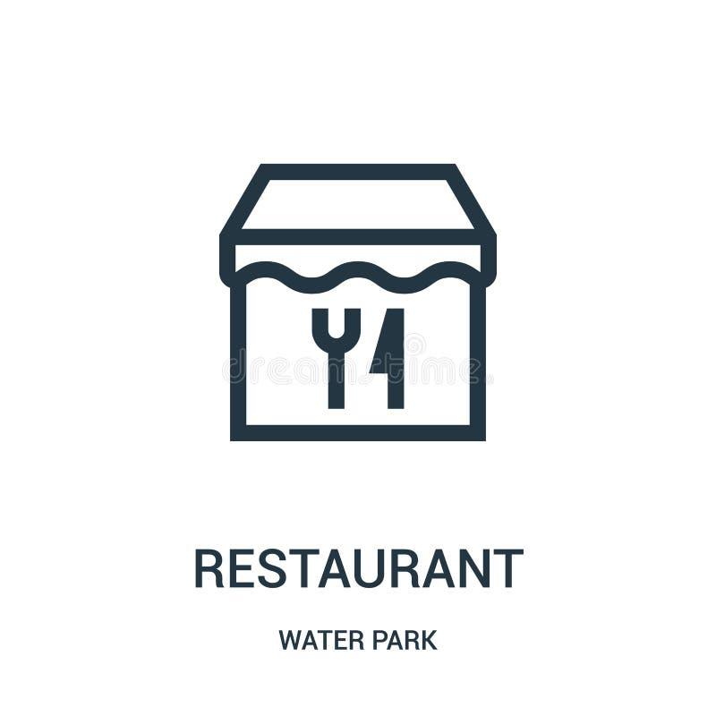 restauracyjny ikona wektor od woda parka kolekcji Cienka kreskowa restauracyjna kontur ikony wektoru ilustracja Liniowy symbol dl ilustracji