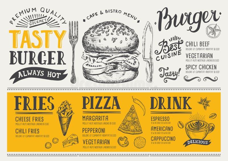 Restauracyjny karmowy menu, szablonu projekt ilustracji
