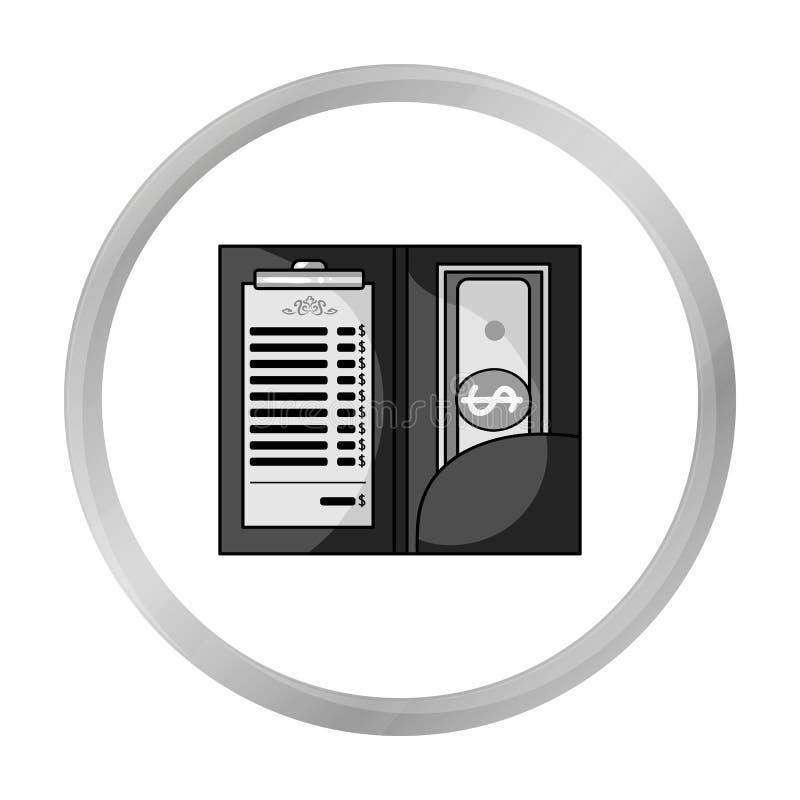 Restauracyjny kwit z gotówkową ikoną odizolowywającą na bielu Restauracyjny symbolu zapasu wektor ilustracja wektor