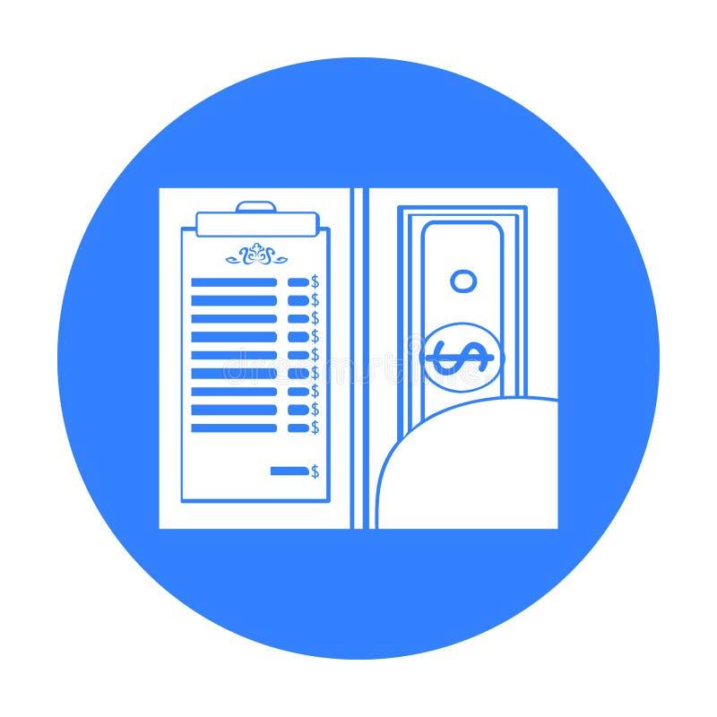 Restauracyjny kwit z gotówkową ikoną w czerń stylu odizolowywającym na białym tle Restauracyjny symbolu zapasu wektor ilustracja wektor