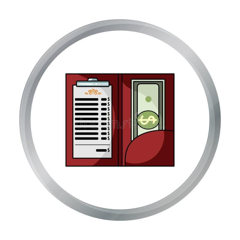 Restauracyjny kwit z gotówkową ikoną w kreskówka stylu odizolowywającym na białym tle Restauracyjny symbolu zapasu wektor royalty ilustracja