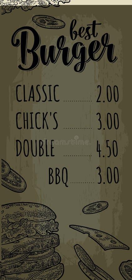 Restauracyjny lub cukierniany menu hamburger z ceną ilustracja wektor