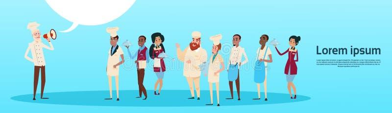Restauracyjny materiału szefa kuchni Cook chwyta megafonu głośnika kolegów kelnerów usługa mieszanki Biegowej grupy sztandar ilustracja wektor