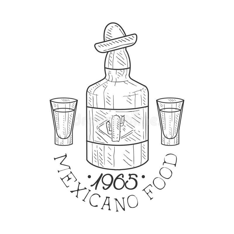 Restauracyjny Meksykański Karmowy menu Promo Podpisuje Wewnątrz nakreślenie styl Z Tequila butelką, projekt etykietki Czarny I Bi royalty ilustracja