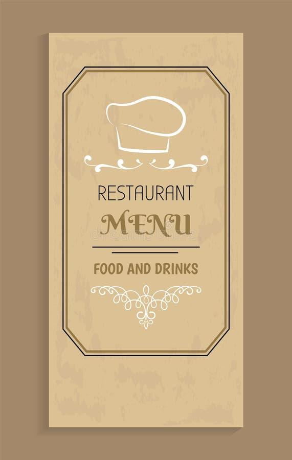 Restauracyjny menu jedzenie projekt i napoje, szefa kuchni kapelusz royalty ilustracja