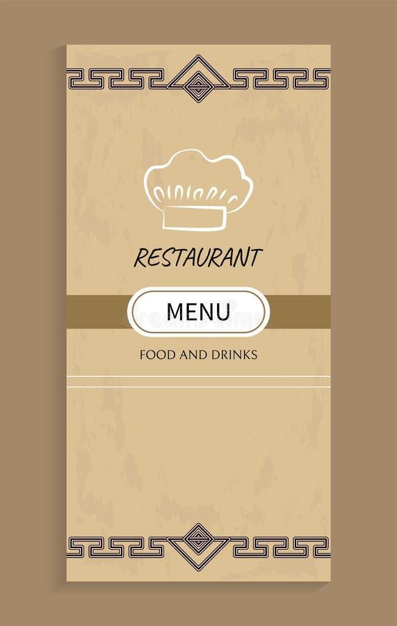 Restauracyjny menu jedzenie projekt i napoje, szefa kuchni kapelusz ilustracja wektor