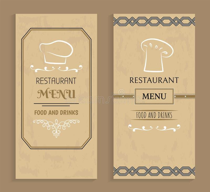 Restauracyjny menu z napojami i Karmowymi szablonami ilustracji