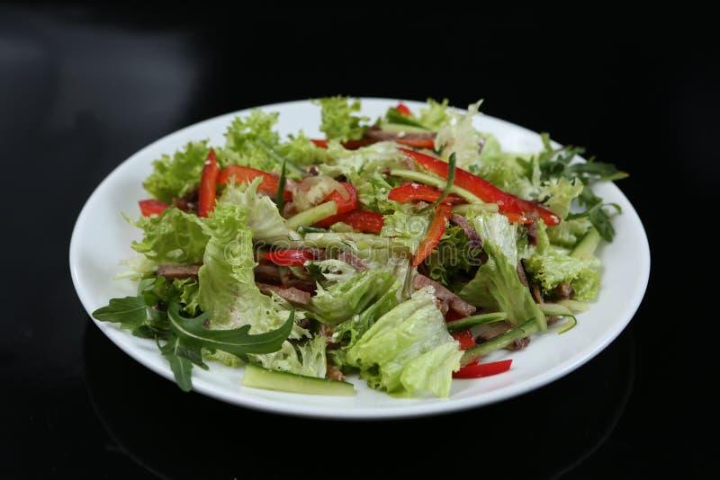 Restauracyjny naczynie, zielona sałatka z ogórkami, czerwony pieprz, Â bekon i arugula, zdrowy jedzenie, w górę obrazy royalty free