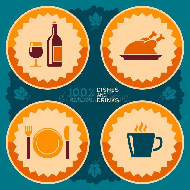 Restauracyjny plakatowy projekt z jedzenia i napoju ikonami ilustracji
