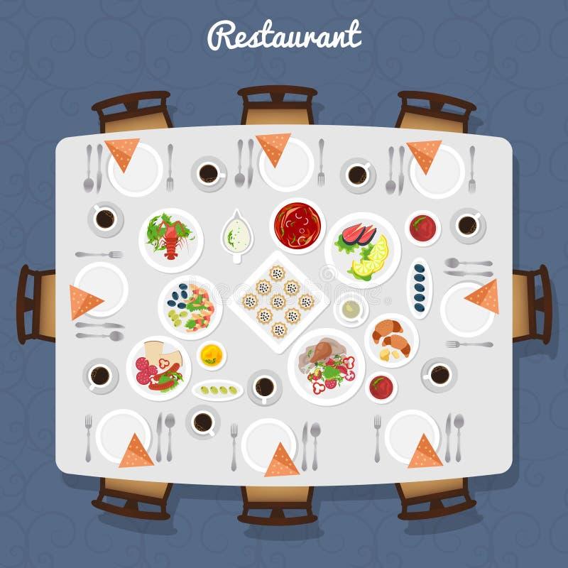 Restauracyjny Stołowy Odgórny widok royalty ilustracja
