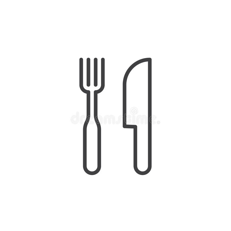Restauracyjny symbol Rozwidlenia i noża kreskowa ikona ilustracja wektor