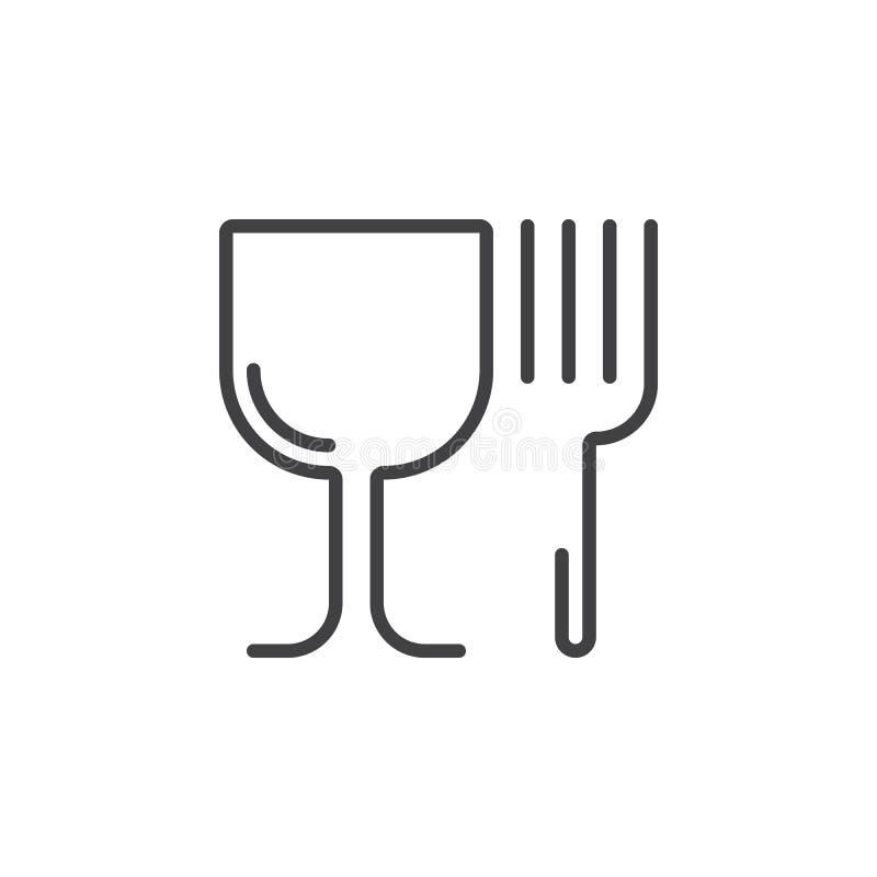 Restauracyjny symbol Wineglass i rozwidlenia kreskowa ikona, konturu wektor ilustracji
