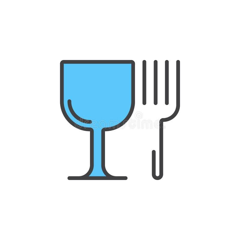 Restauracyjny symbol Wineglass i rozwidlenia kreskowa ikona, wypełniający kontur ilustracji