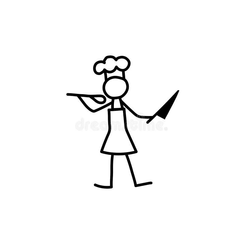 Restauracyjny szef kuchni, kucharz, kelnera kija postać ilustracji