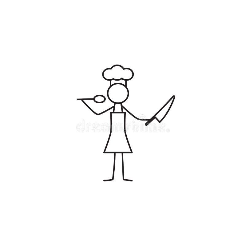Restauracyjny szef kuchni, kucharz, kelnera kija postać ilustracja wektor