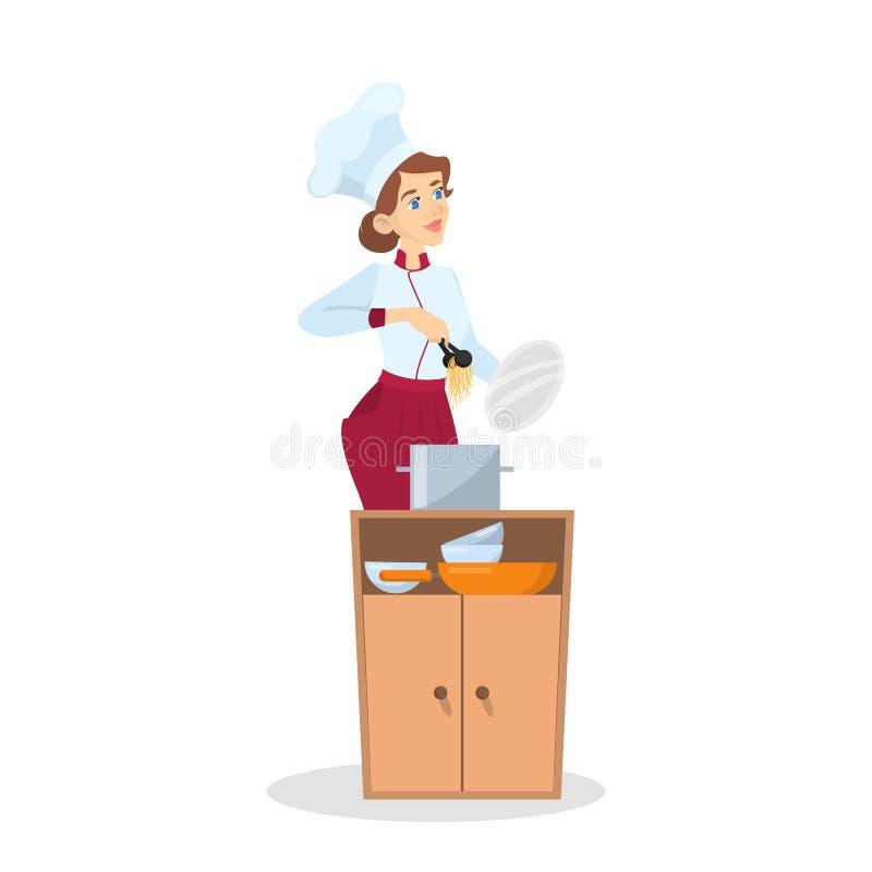 Restauracyjny szefa kuchni kucharstwo Kobieta w fartuchu robi smakowitemu naczyniu ilustracja wektor