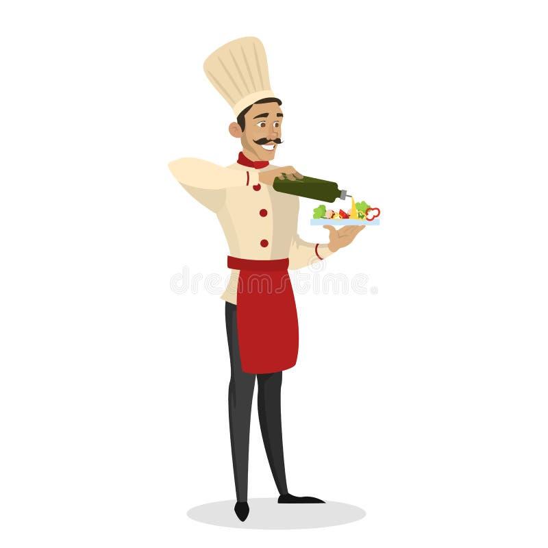 Restauracyjny szefa kuchni kucharstwo Mężczyzna w fartuchu robi smakowitej sałatki royalty ilustracja
