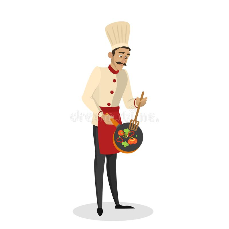 Restauracyjny szefa kuchni kucharstwo M??czyzna w fartuchu robi smakowitemu naczyniu royalty ilustracja