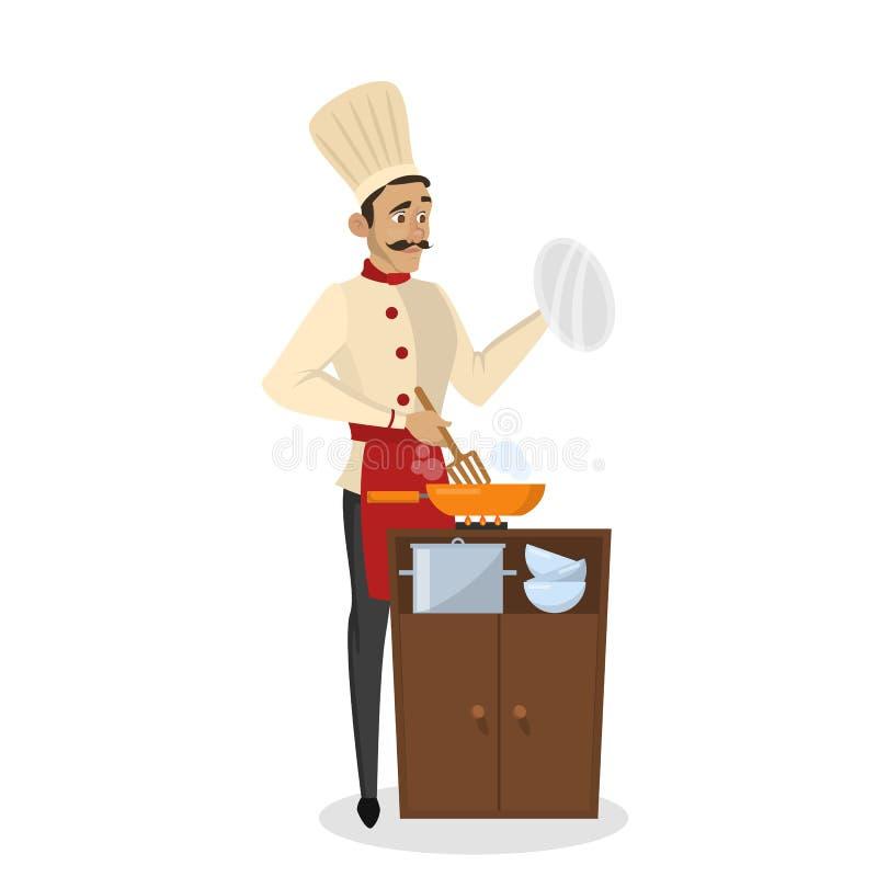 Restauracyjny szefa kuchni kucharstwo M??czyzna w fartuchu robi smakowitemu naczyniu ilustracji