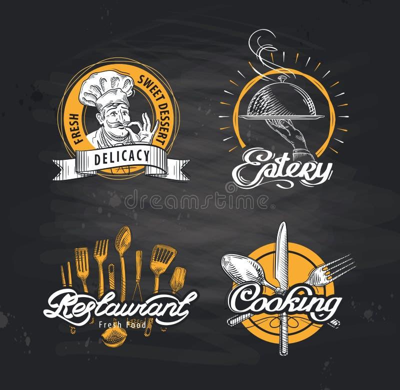 Restauracyjny wektorowy loga projekta szablon kawiarnia lub knajpa, gość restauracji ikona royalty ilustracja