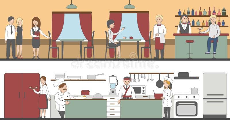 Restauracyjny wnętrze set royalty ilustracja