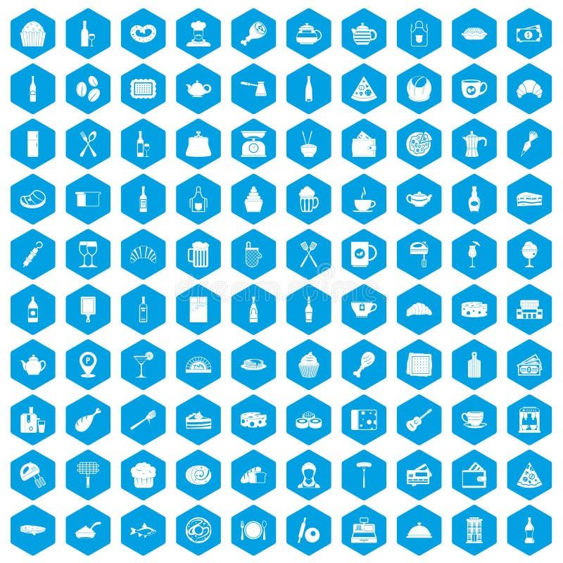 100 restauracyjnych ikon ustawiają błękit royalty ilustracja