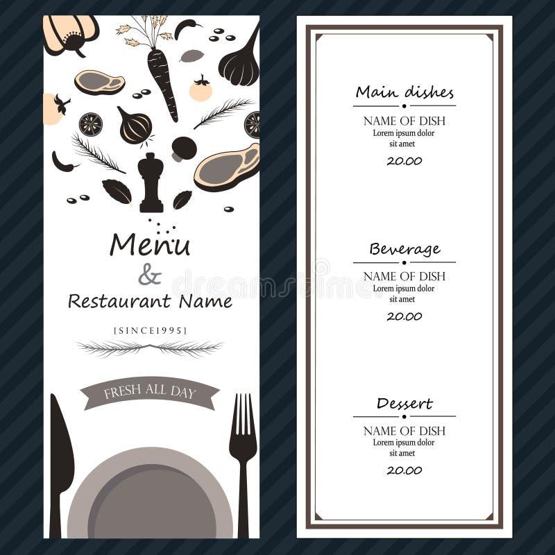 Restauracyjnych stku menu składników szablonu backgroud świeża pokrywa fotografia stock