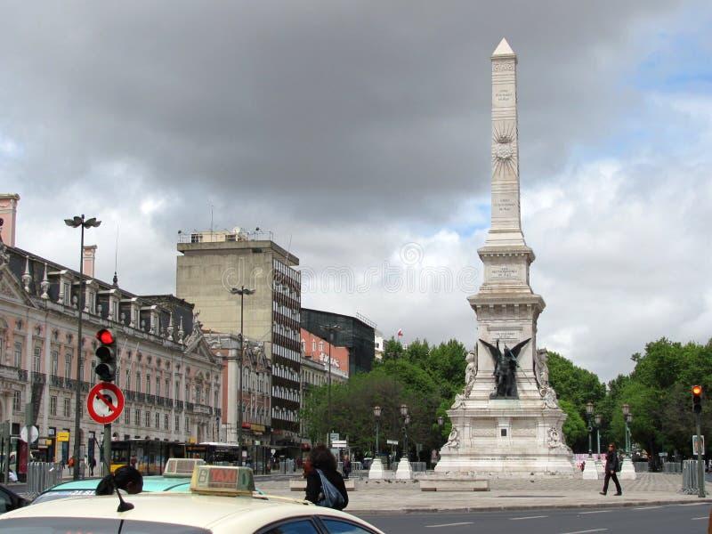 Restauradores vierkant, stedelijk centrum van de stad stock afbeelding