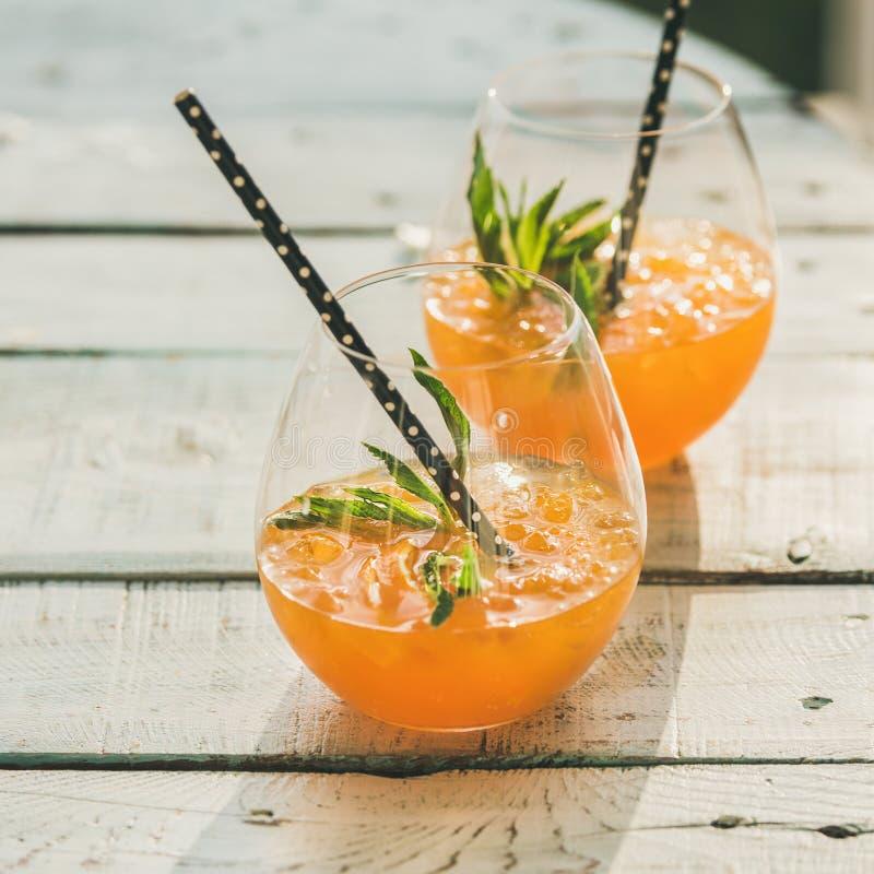 Restaurando el cóctel alcohólico frío de la fruta cítrica del verano con la naranja, ajuste la cosecha imagenes de archivo