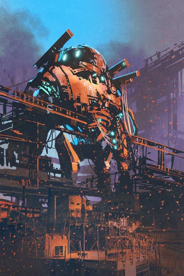 Restaurando o robô gigante velho na fábrica abandonada ilustração do vetor