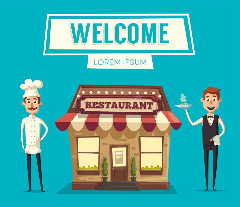 Restaurang eller kafé Yttre byggnad missbelåten illustration för pojketecknad film little vektor vektor illustrationer