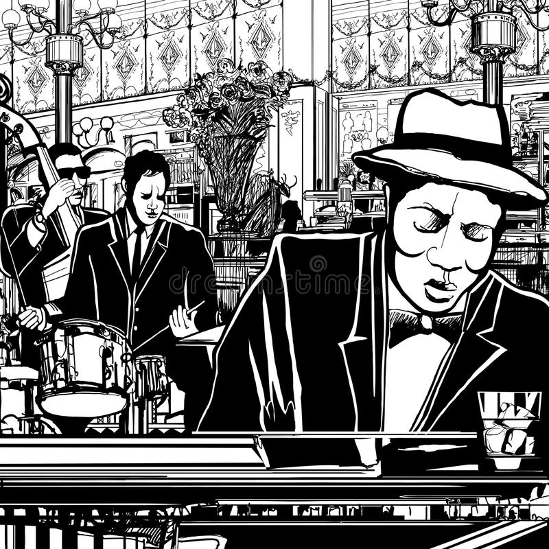 restaurang för bandjazzpiano royaltyfri illustrationer