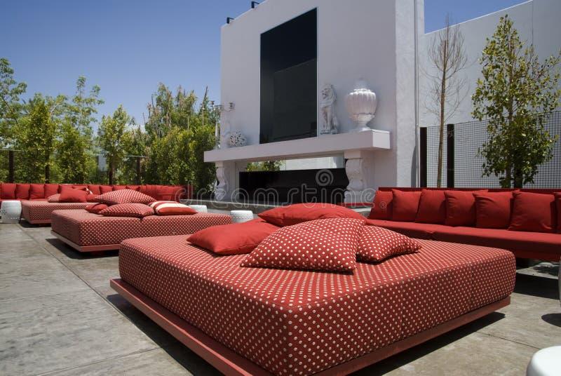 restaurang för exklusiv vardagsrum för områdesklubba utomhus- fotografering för bildbyråer