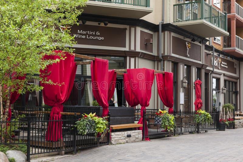 Restaurang i den blåa bergbyn, Collingwood, Ontario, Kanada arkivfoto