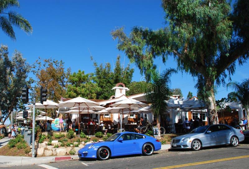 Restaurang i Laguna Beach, Kalifornien arkivbilder