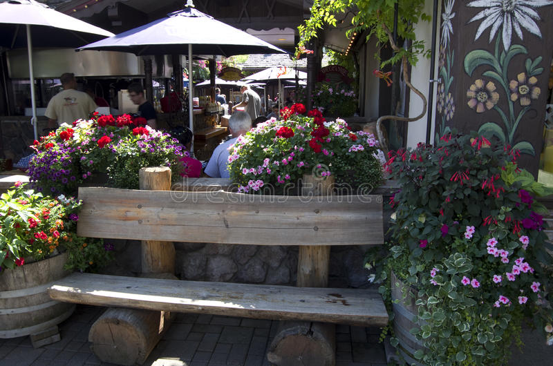Restaurang i Leavenworth tyskstad royaltyfri fotografi