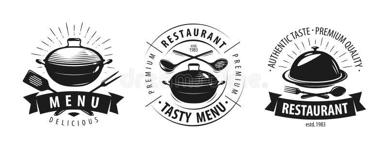 Restaurang, kafélogo eller etikett Emblem för menydesign också vektor för coreldrawillustration stock illustrationer