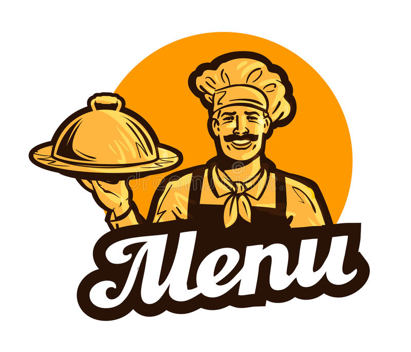 Restaurang kafévektorlogo meny, maträtt, mat eller kock, kocksymbol vektor illustrationer