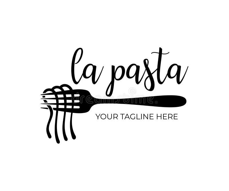 Restaurang och snabbmat, spagetti, nudlar och pasta med gaffeln, logodesign, vektordesign stock illustrationer