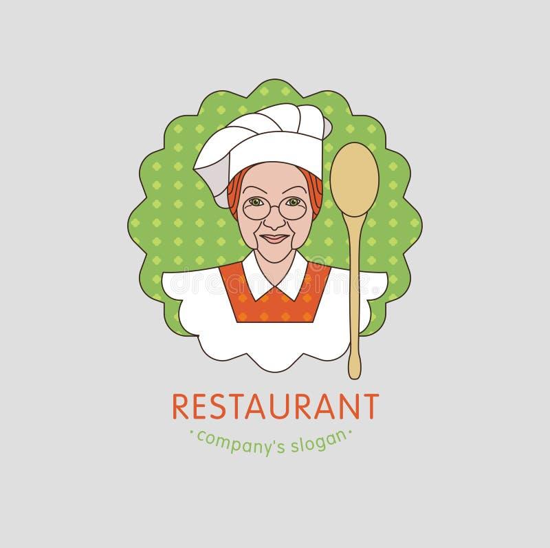 Restaurang Vektorlogorestaurang, kaféhusmanskost vektor illustrationer