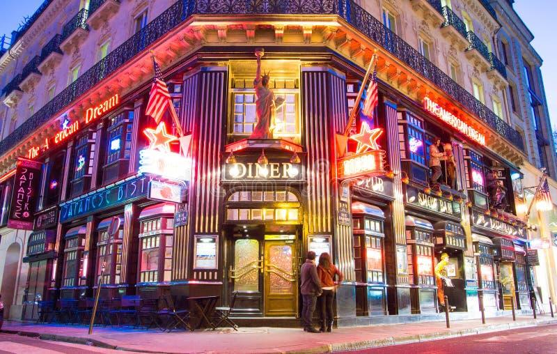 Restaurangamerikanska drömmen, Paris, Frankrike royaltyfri foto