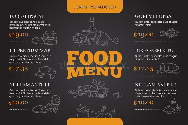 Restaurangbroschyr, menyvektordesign med hand dragen klottermat och drink royaltyfri illustrationer
