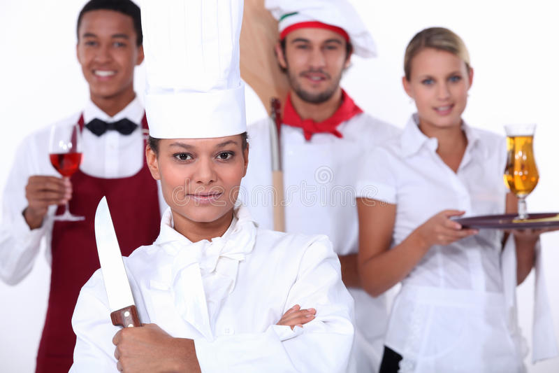 Restaurangen bemannar royaltyfria foton