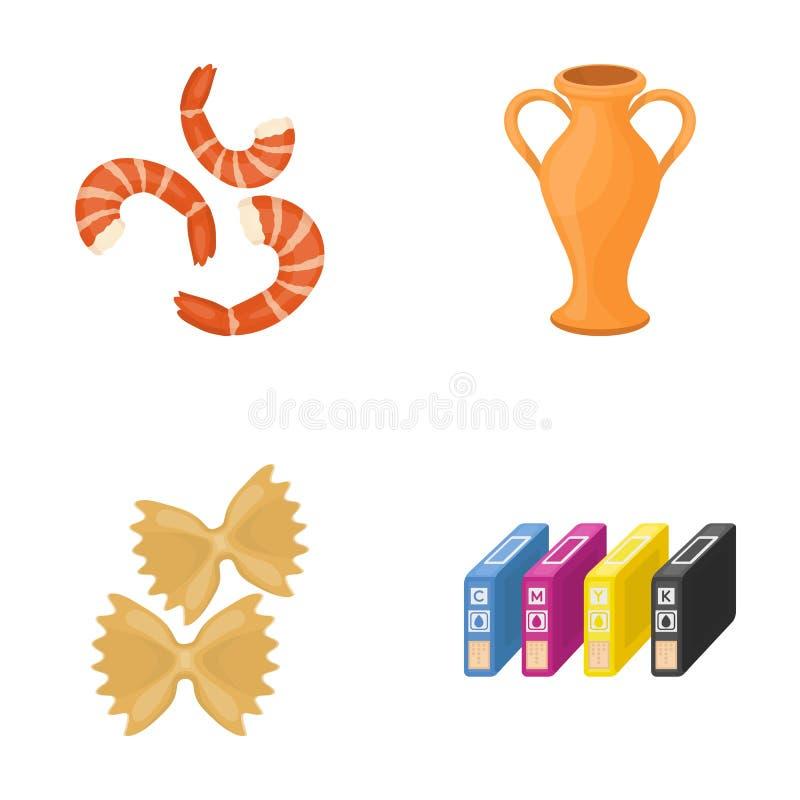 Restaurangen, historia, loppet och annan rengöringsduksymbol i tecknad film utformar , information, affär, handelsymboler i uppsä stock illustrationer