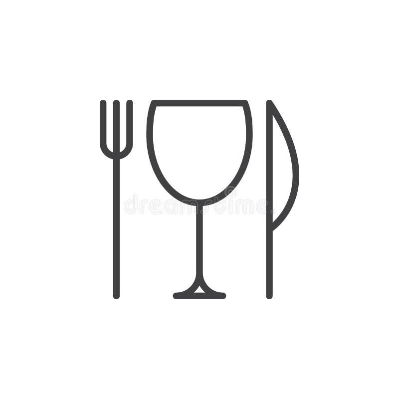Restaurangen, kniven, gaffeln och exponeringsglas fodrar symbolen, översiktsvektortecknet, den linjära stilpictogramen som isoler royaltyfri illustrationer